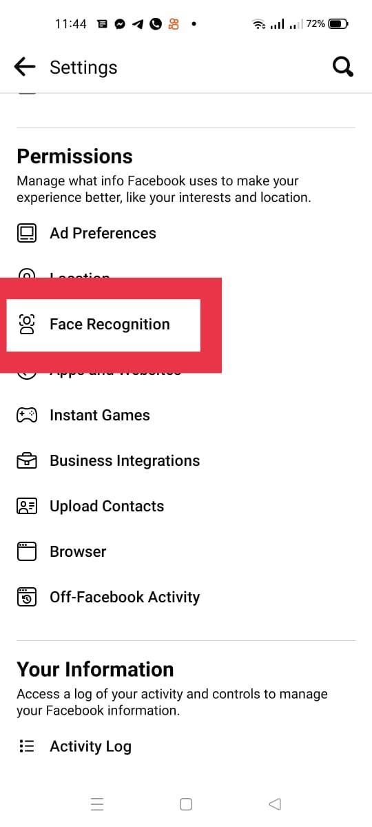 قُم باختيار face recognition
