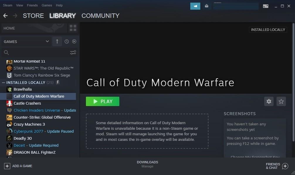 Steam Non Library Game Add