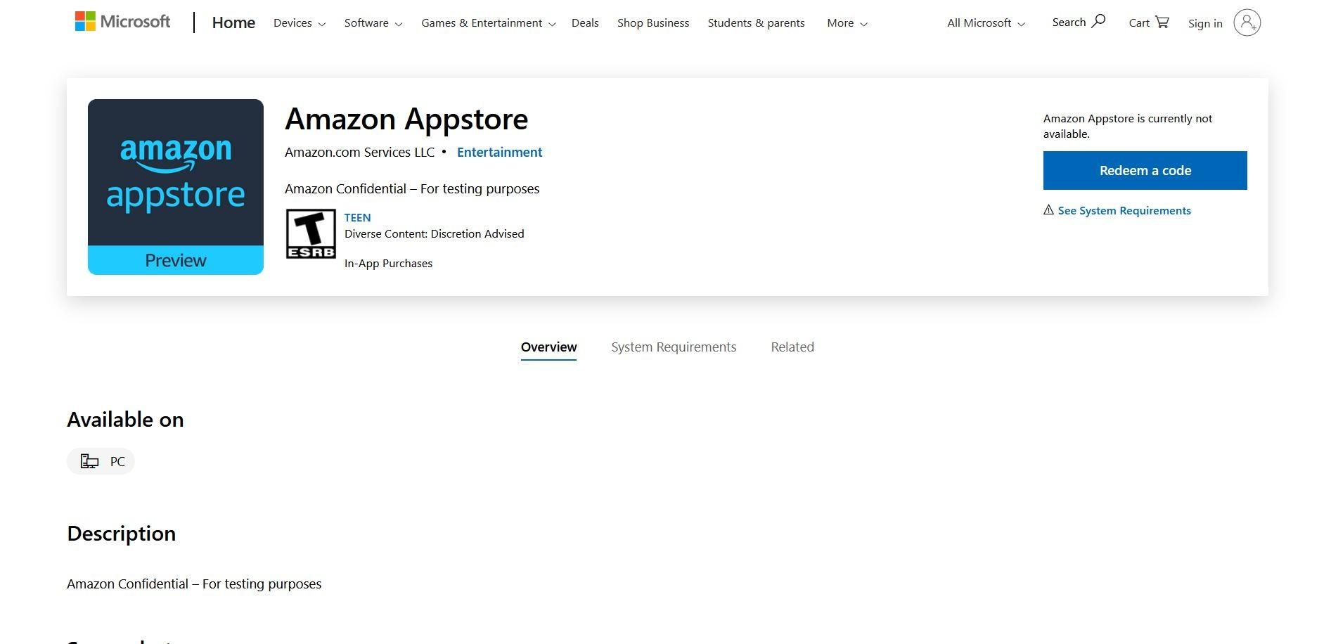 Amazon App store Microsoft Storea