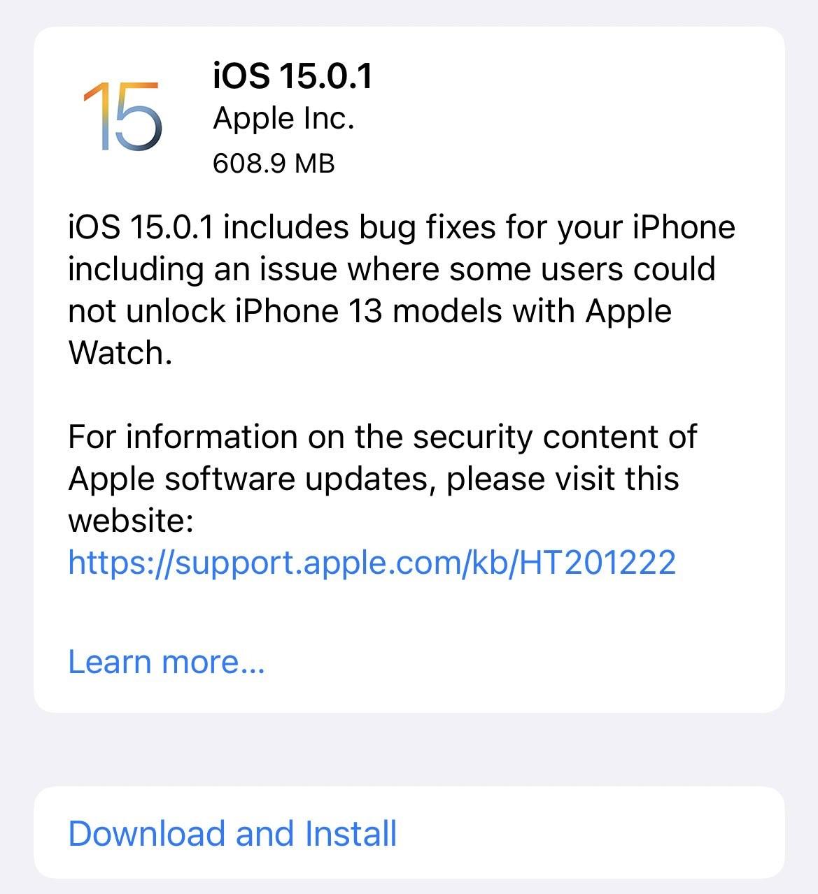 أبل تطلق التحديث iOS 15.0.1 لحل مشكلة فتح قفل الآيفون بواسطة ساعة أبل