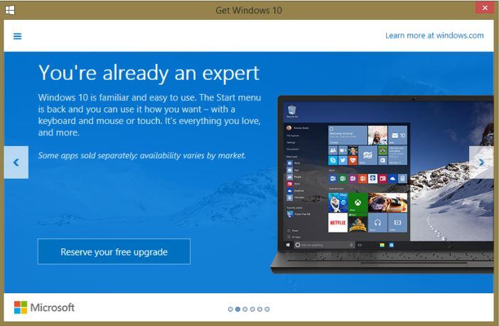 مايكروسوفت تخبر مستخدمي إصدارات ويندوز بالترقيه الى ويندوز 10 مجاناً