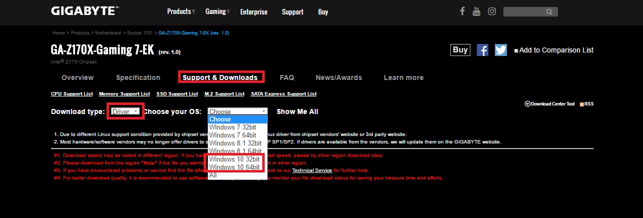 تحديث تعريفات لوحة جيجابايت لنظام ويندوز 10