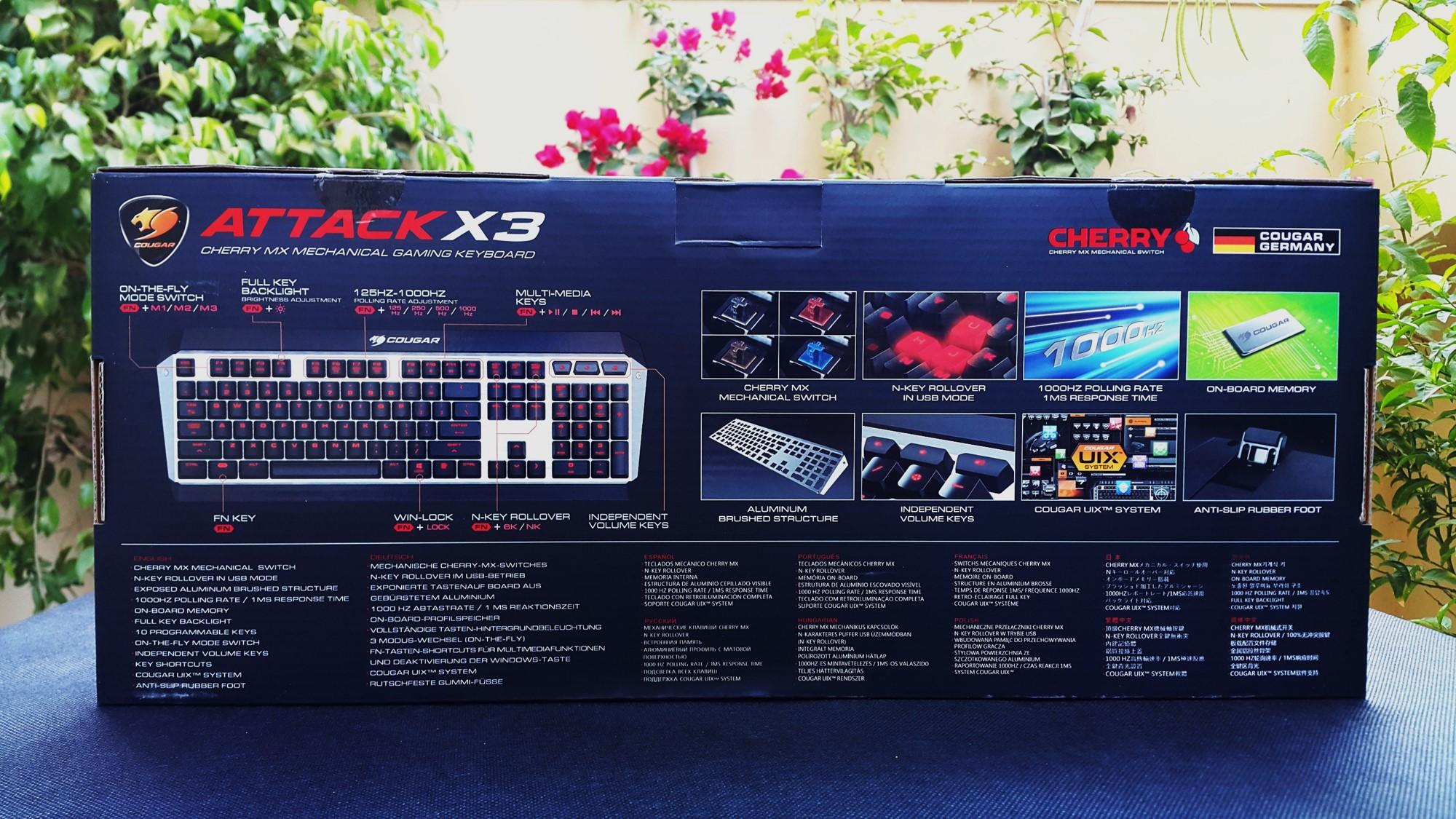 2- Cougar Attack X3 Mechanical Keyboard Box Back