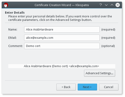 Kleopatra - new certificate