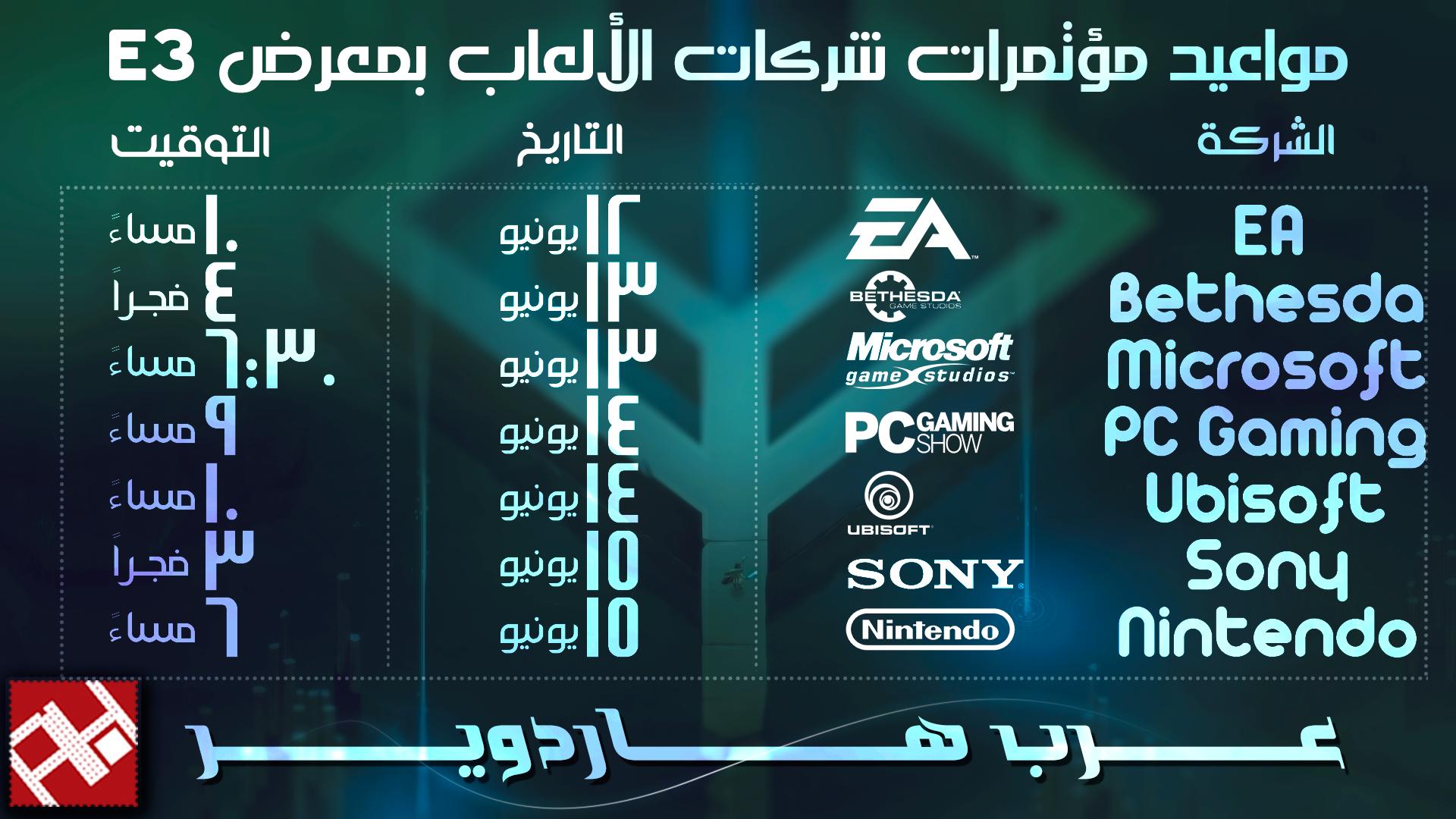 مؤتمرات الشركات بمعرض E3 2016
