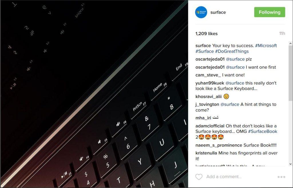 تلميح ميكروسوفت عن ال Surface Book 2 فى حساب انتسجرام الرسمى للسيرفيس