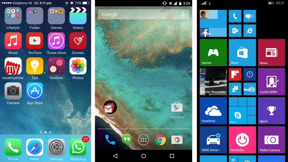 iOS VS Android VS WindowsPhone : Home Screen