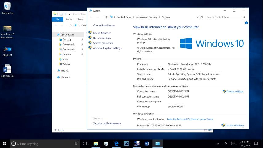 شاهد معالج Snapdragon 820 يقوم بتشغيل نظام Windows 10 بشكل كامل