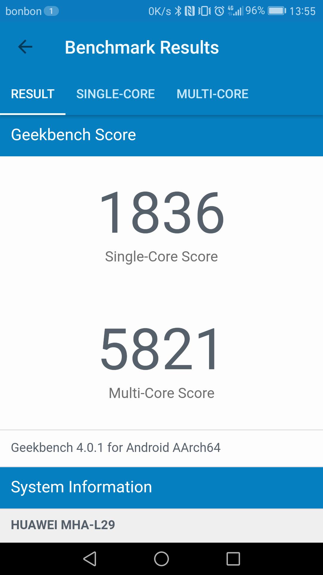 Mate 9 GeekBench score