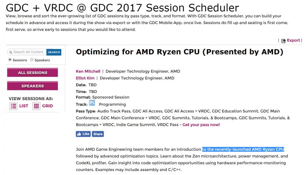 إطلاق معالجات AMD RYZEN سيكون في مؤتمر GDC 2017