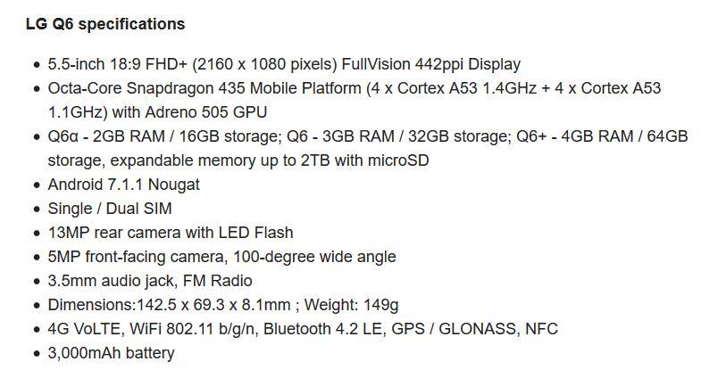 Q6 و LG Q6a و أيضاً LG Q6+