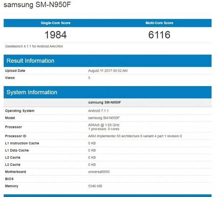 هاتف Samsung Galaxy Note 8 يظهر من خلال Geekbench