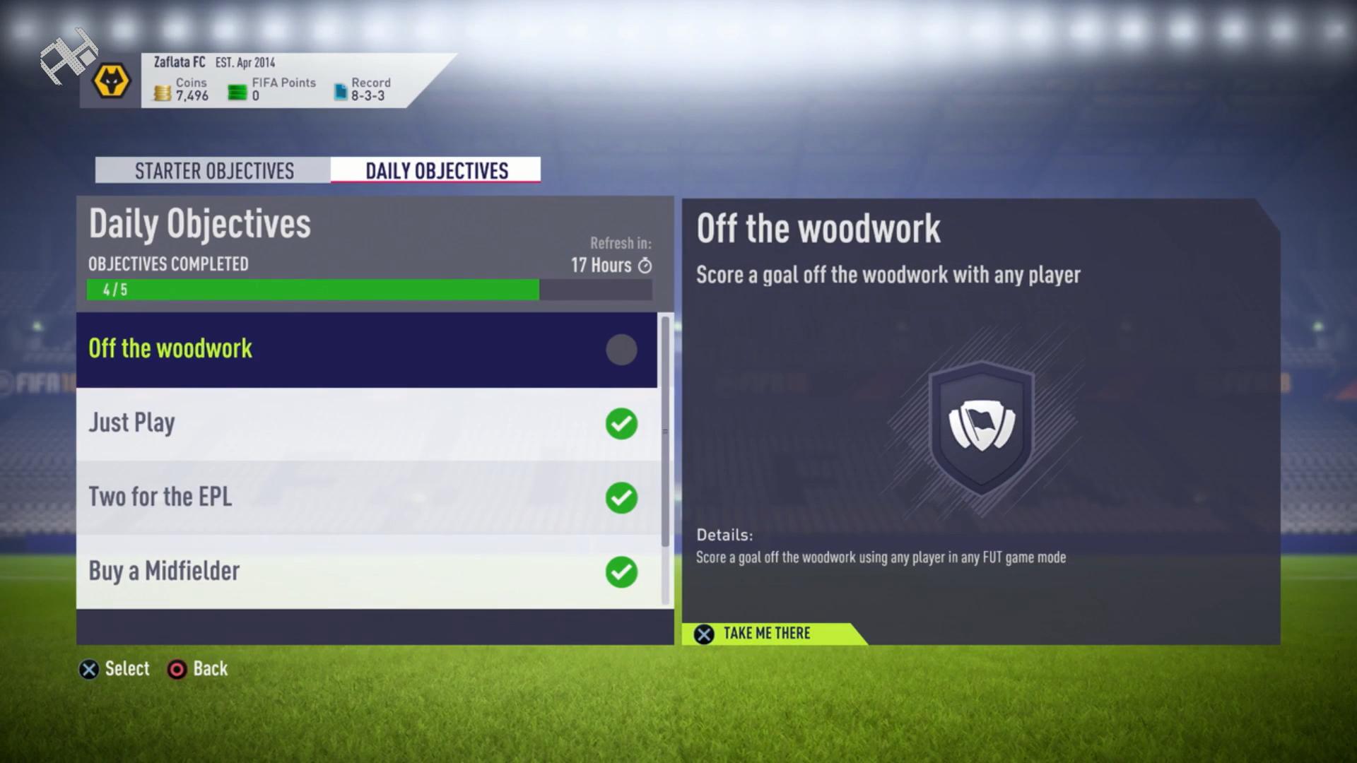 FIFA 18 FUT Daily Objectives