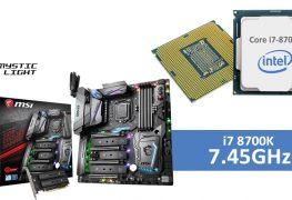 معالج إنتل i7 8700K يحطم التردد السابق ويصل إلى 7.45GHz بفضل لوحة MSI!