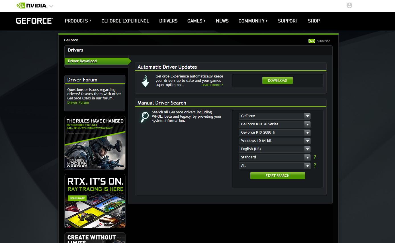 توجه إلى موقع NVIDIA لتحميل التعريف