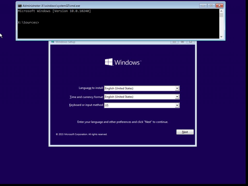 فتح الـ CMD في مثبت Windows 10
