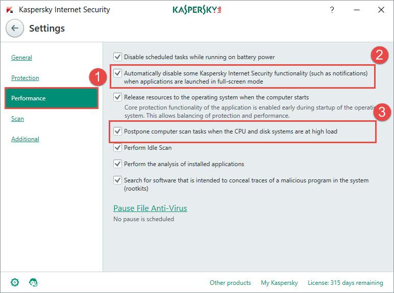 Kaspersky Game Modes