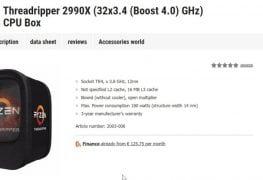 معالج Threadripper 2990X يظهر على أحد مواقع الشراء بسعر 1509 يورو