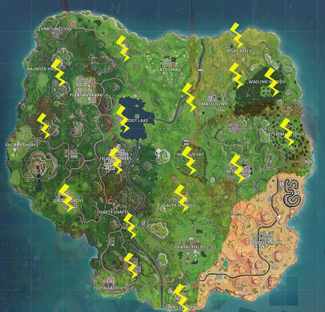 fortnite lightning bolts map