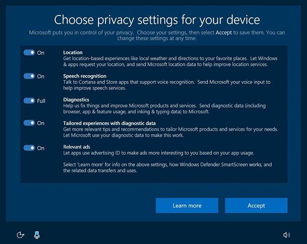 إعدادات الخصوصية في Windows 10