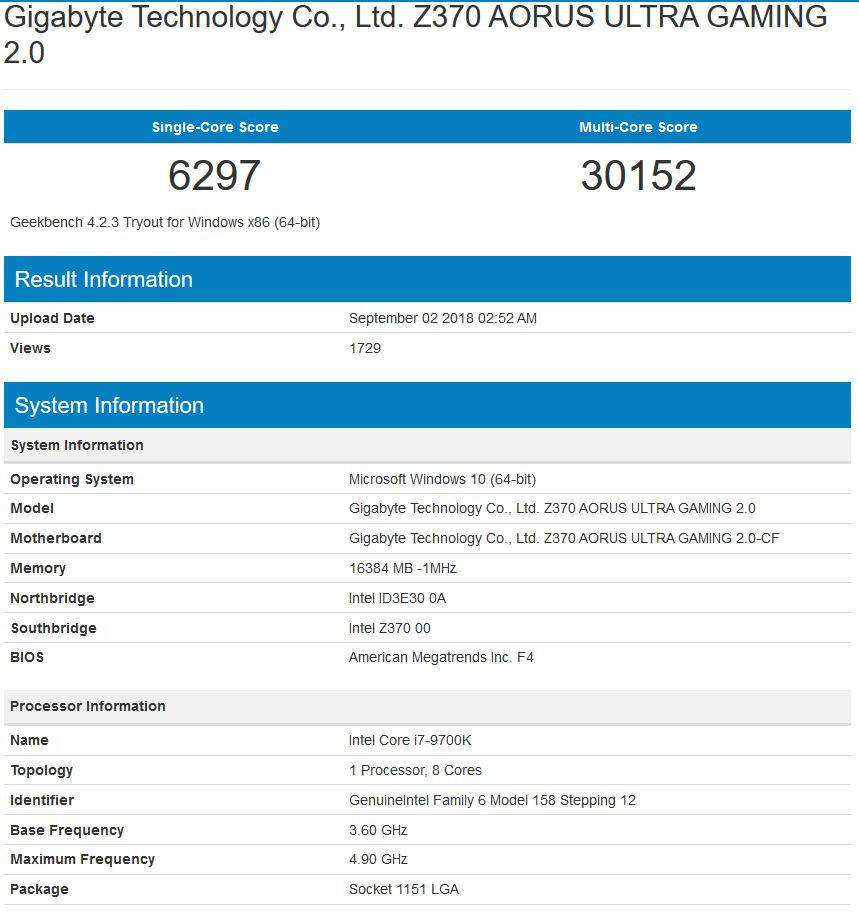 Intel Core i7-9700K Put Through Geekbench on a Z370 Motherboard