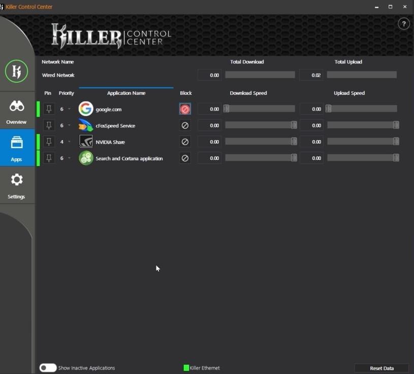 Killer Control panel MSI MEG Z390 ACE (1)