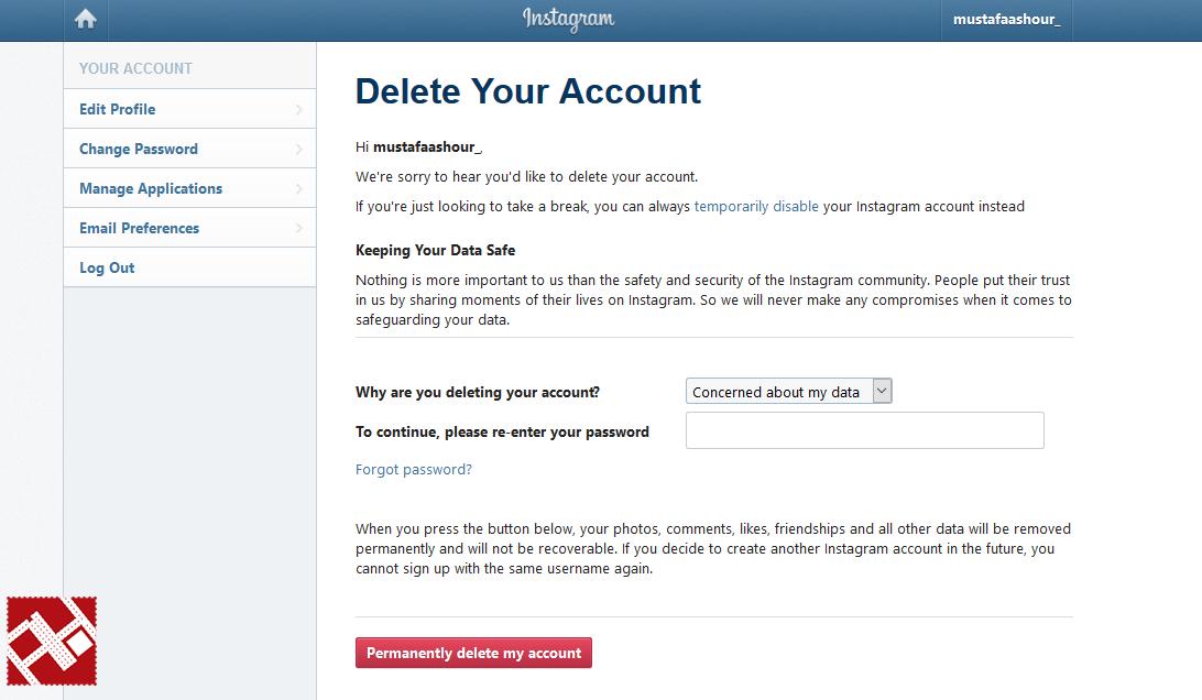 طريقة حذف حساب إنستاجرام بشكل كامل