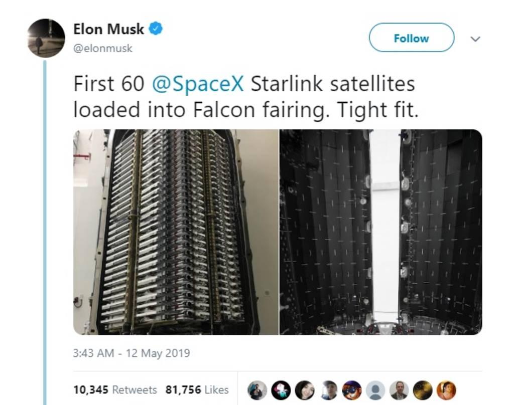 SpaceX تُطلق 60 قمراً صناعياً لنشر الإنترنت في جميع أنحاء العالم