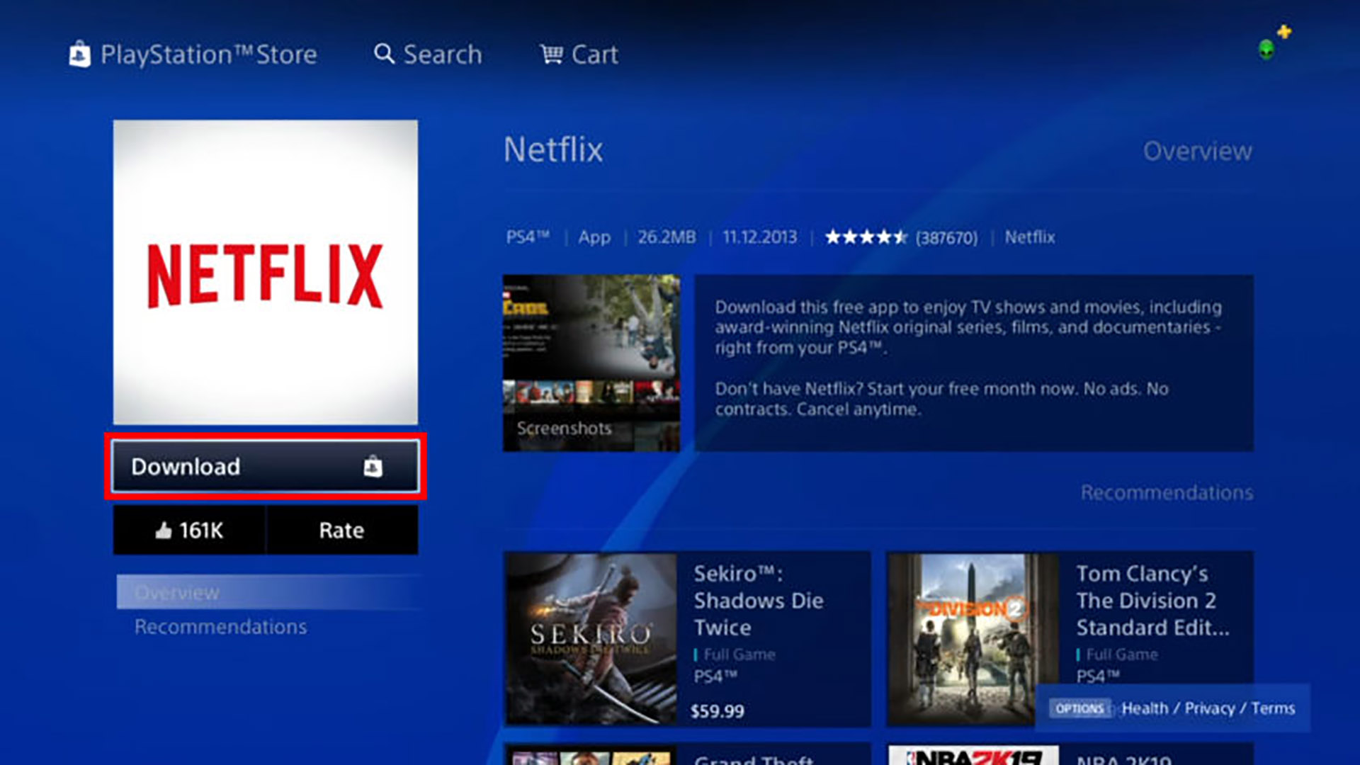 Netflix on PlayStation 4