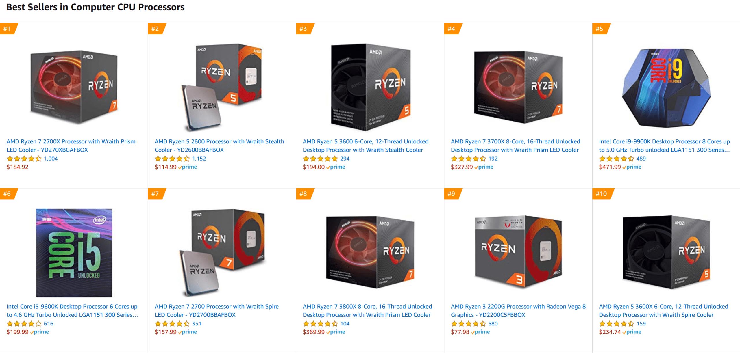 معالجات شركة AMD تسيطر على قائمة المعالجات الأكثر بيعاً على Amazon بروسيسور