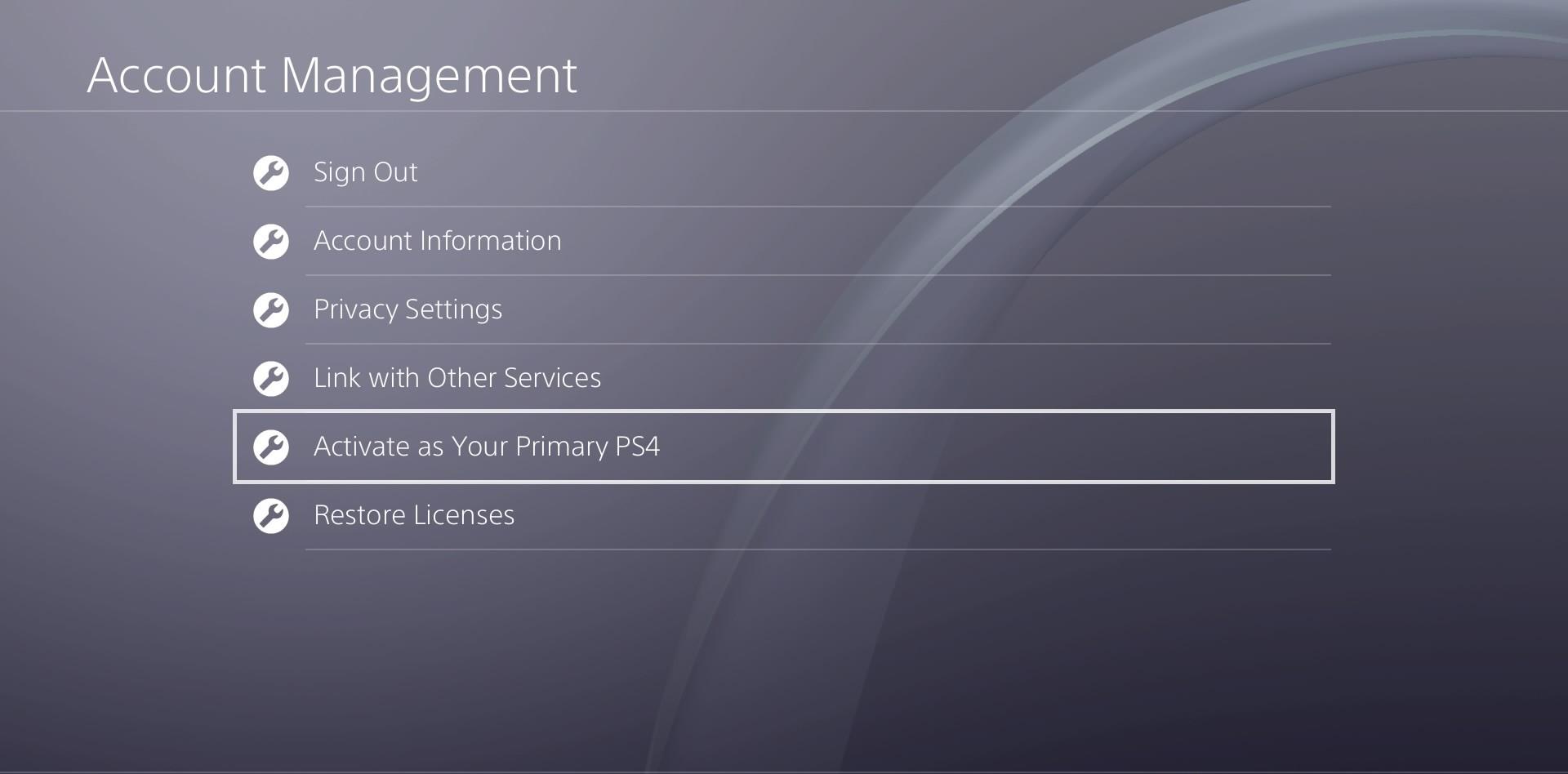 قم بالنزول للأسفل ثم اضغط على Activate as Your Primary PS4