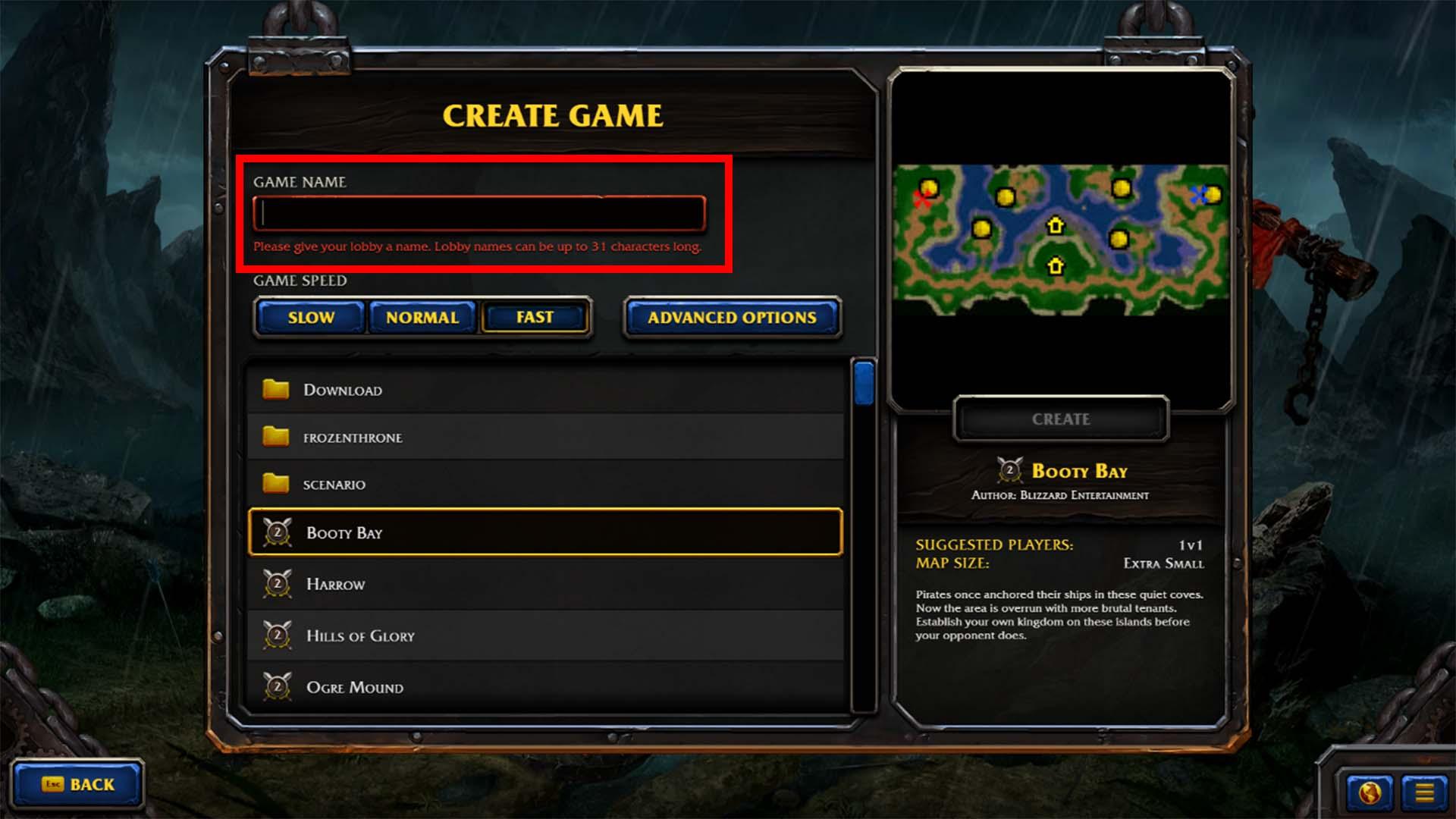 الأن يجب عليك اختيار اسم خاص بالـ Custom Game
