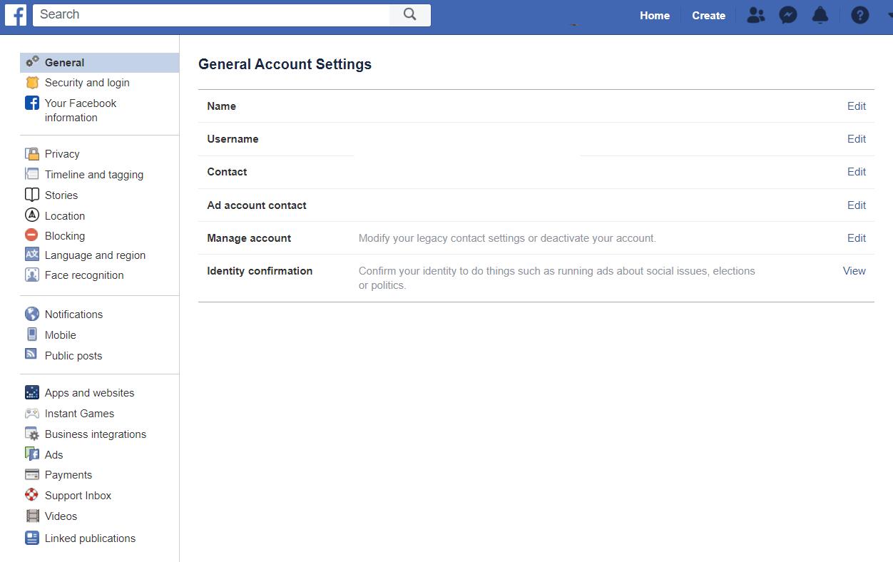 قم بالدخول على إعدادات الفيس بوك الخاصة بك.