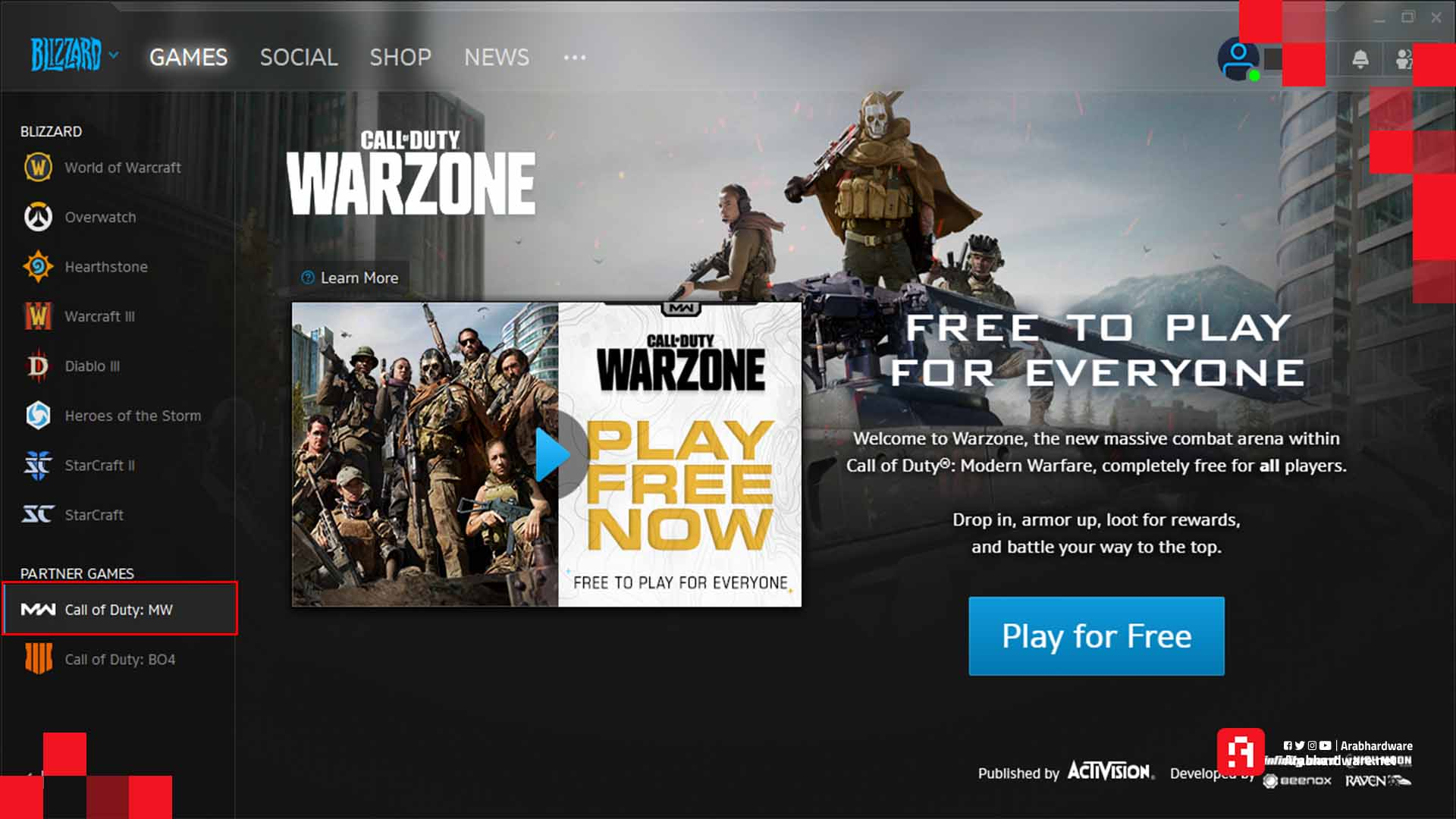 اختيار عنوان Modern Warfare.
