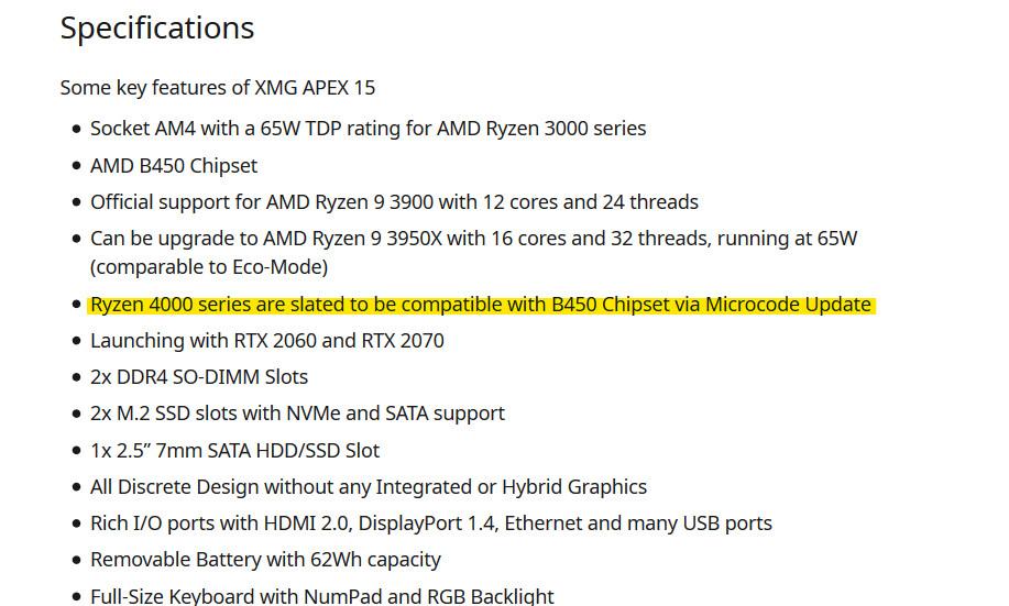 B450 AMD Ryzen 4000 CPU
