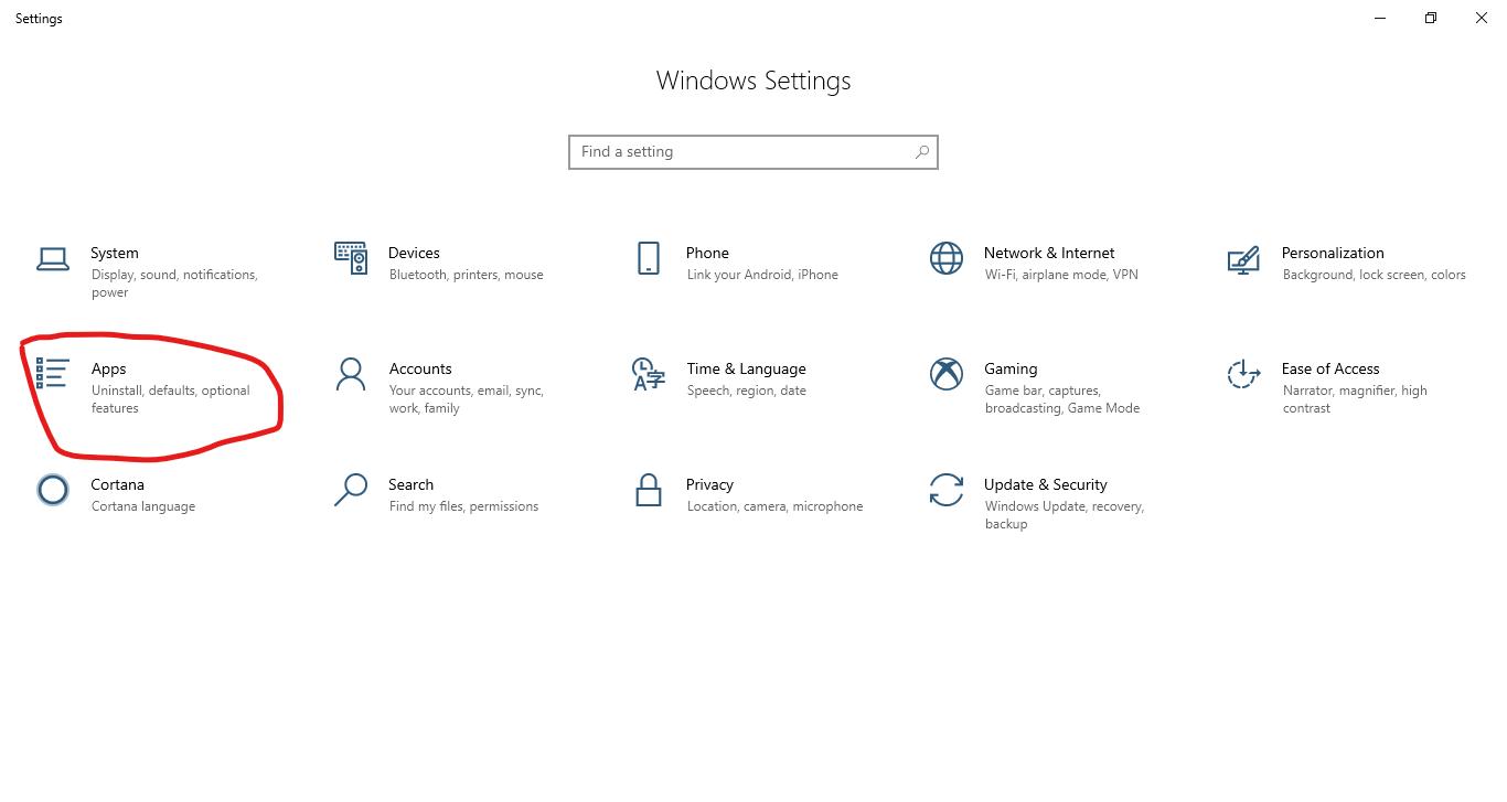 افتح التطبيقات داخل إعدادات ويندوز