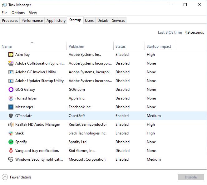 تعطيل البرامج التي تعمل عند بدء تشغيل ويندوز 10
