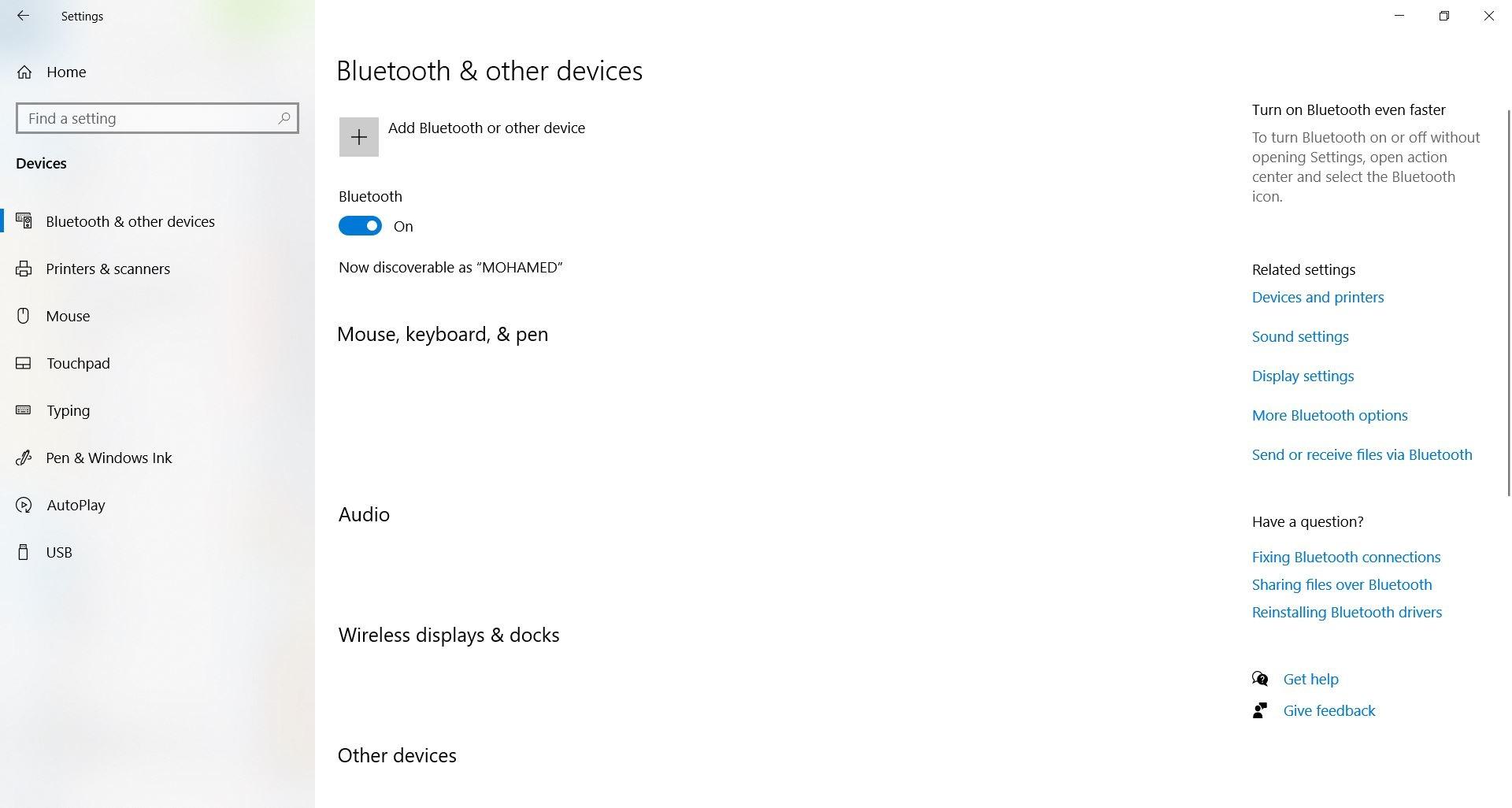 ربط الهاتف بأجهزة Windows 10