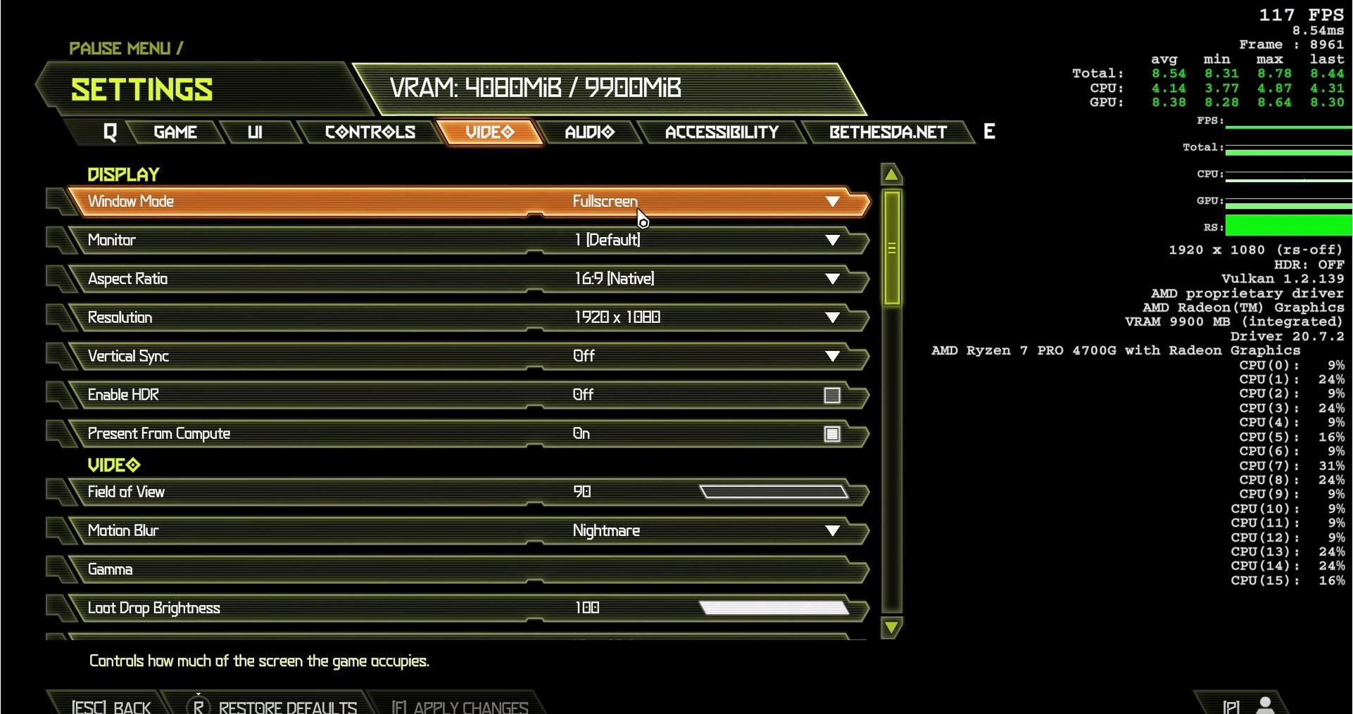 AMD Ryzen 7 4700G run doom