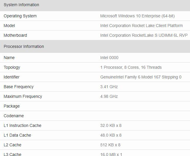 Intel Rocket Lake Geekbench
