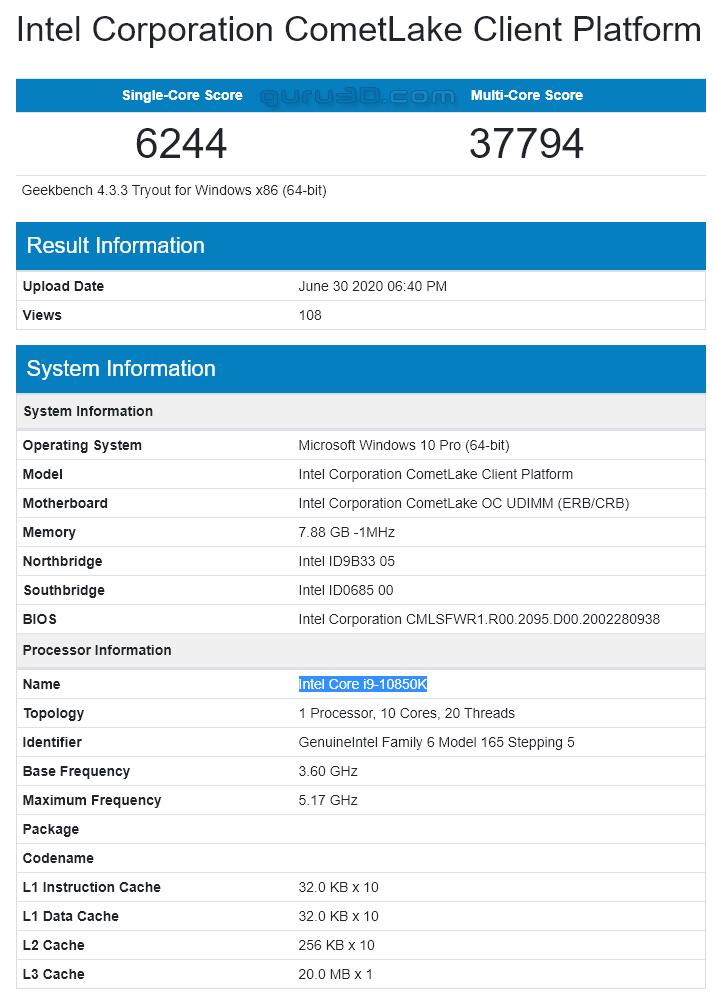 Intel Core i9-10850K ، i9-10900K CPU AMD Geekbench