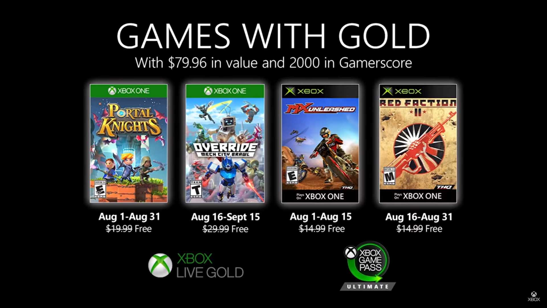 xbox game live gold august