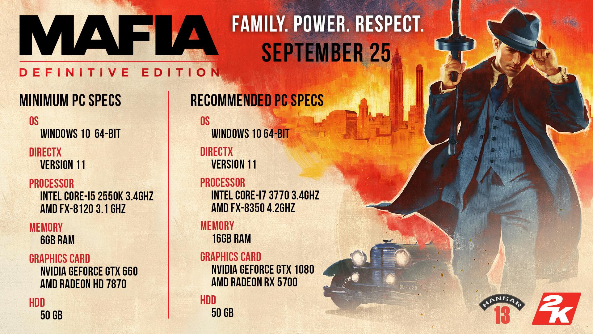 Mafia Trilogy Mafia Definitive Edition Remake 2K مواصفات تشغيل
