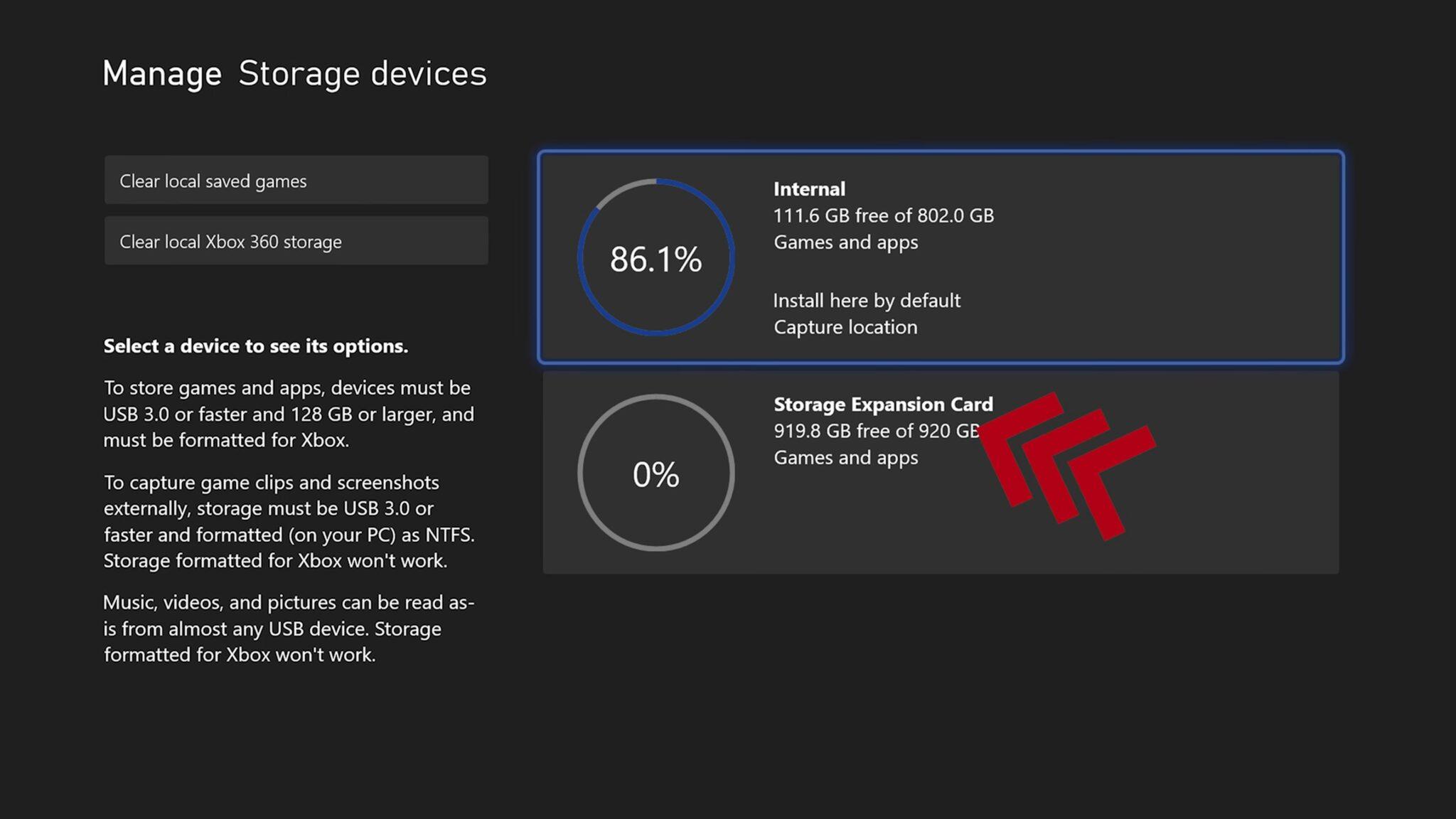 Xbox Series X المساحة التخزينية SSD