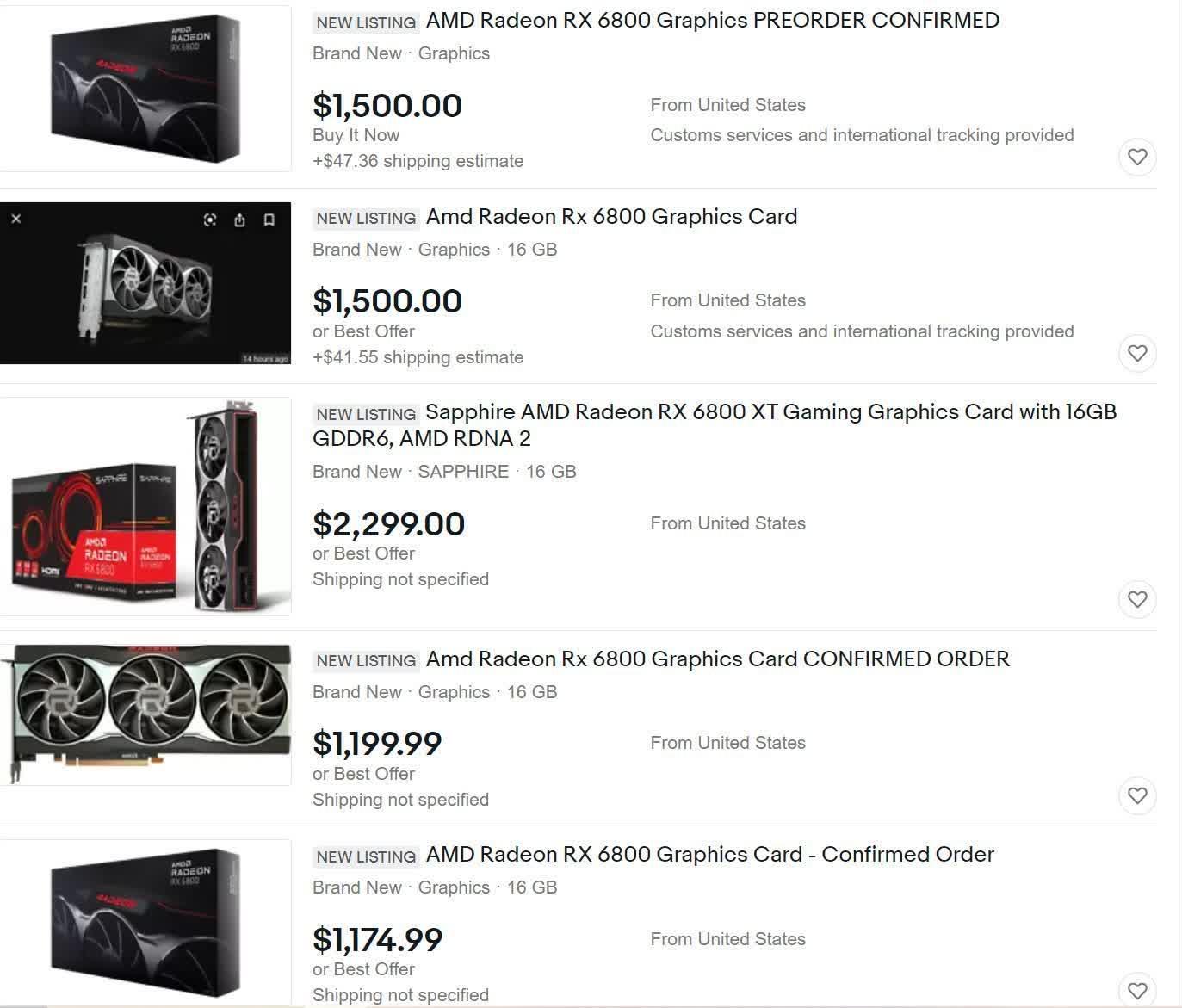 AMD Radeon RX ebay