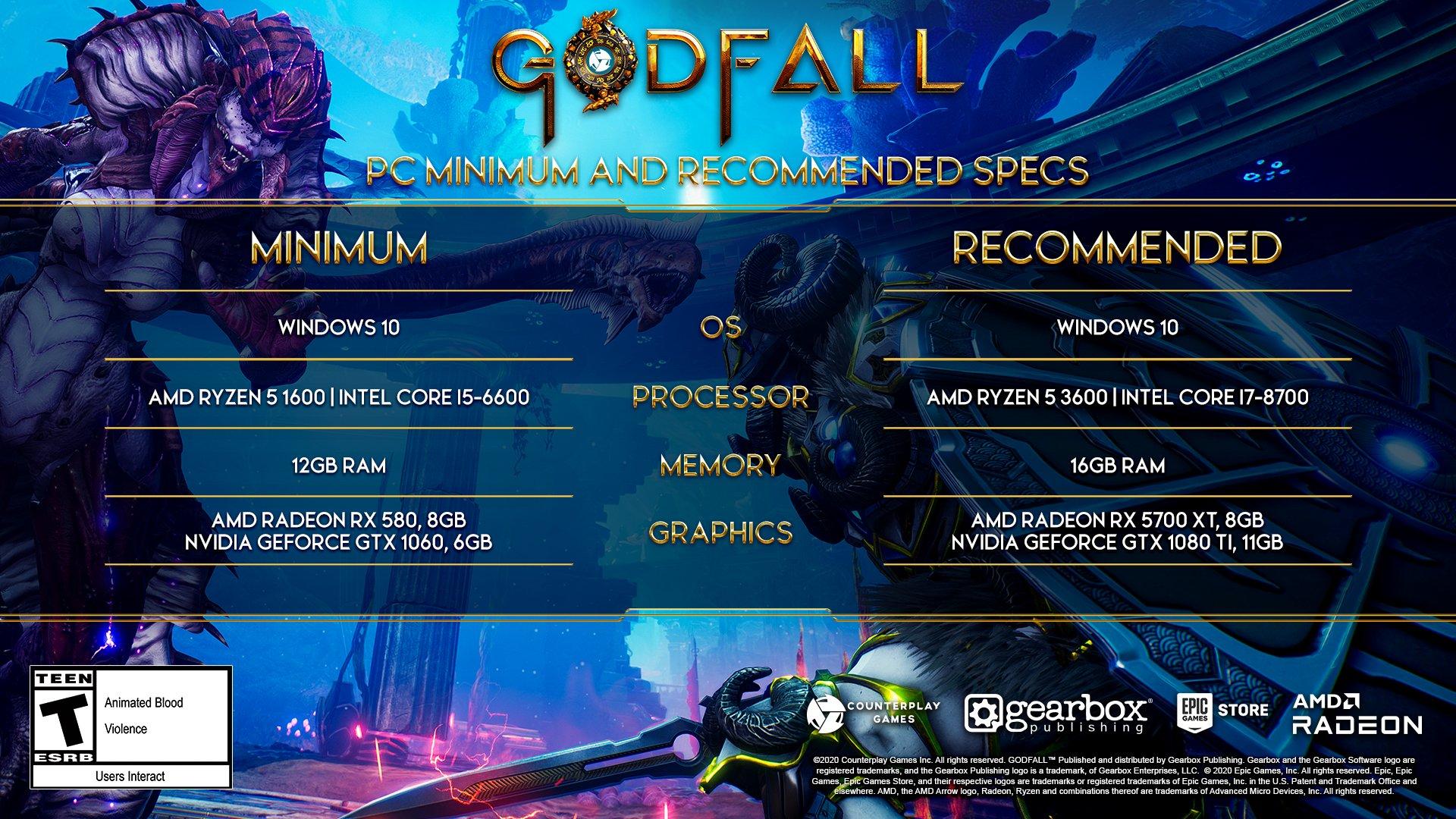 Godfall Counterplay Games AMD RX 6000 متطلبات تشغيل