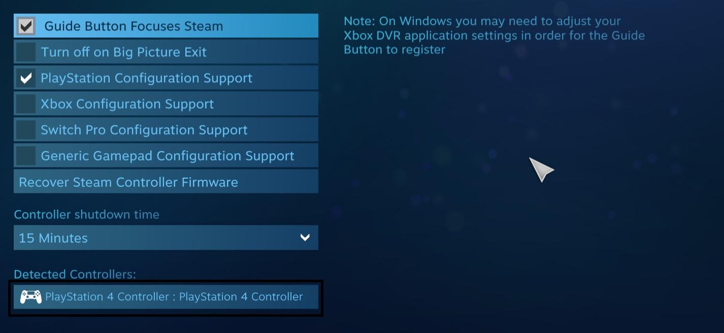 ستجد الأداة مسجلة على Steam، لكن كـ DualShock 4.