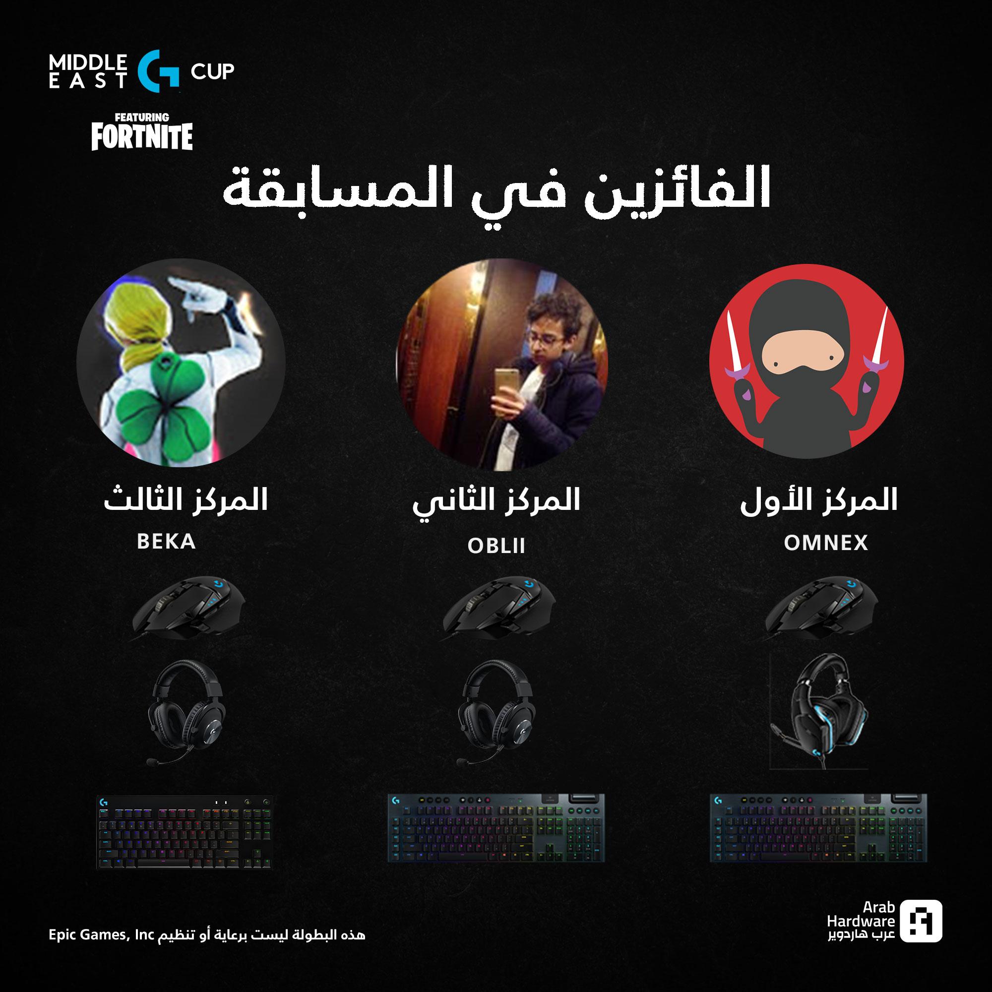 الفائزين في مسابقة Fortnite Middle East G Cup