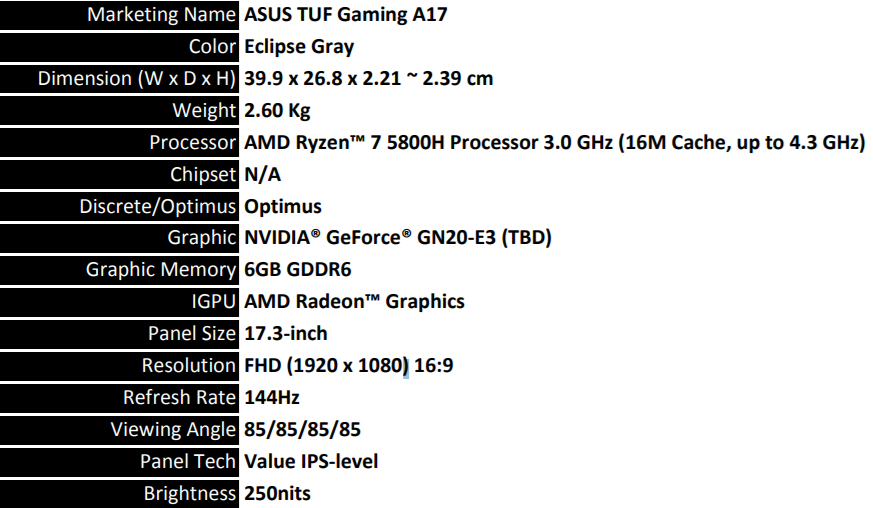 ASUS TUF GAMING A17 AMD SPECS