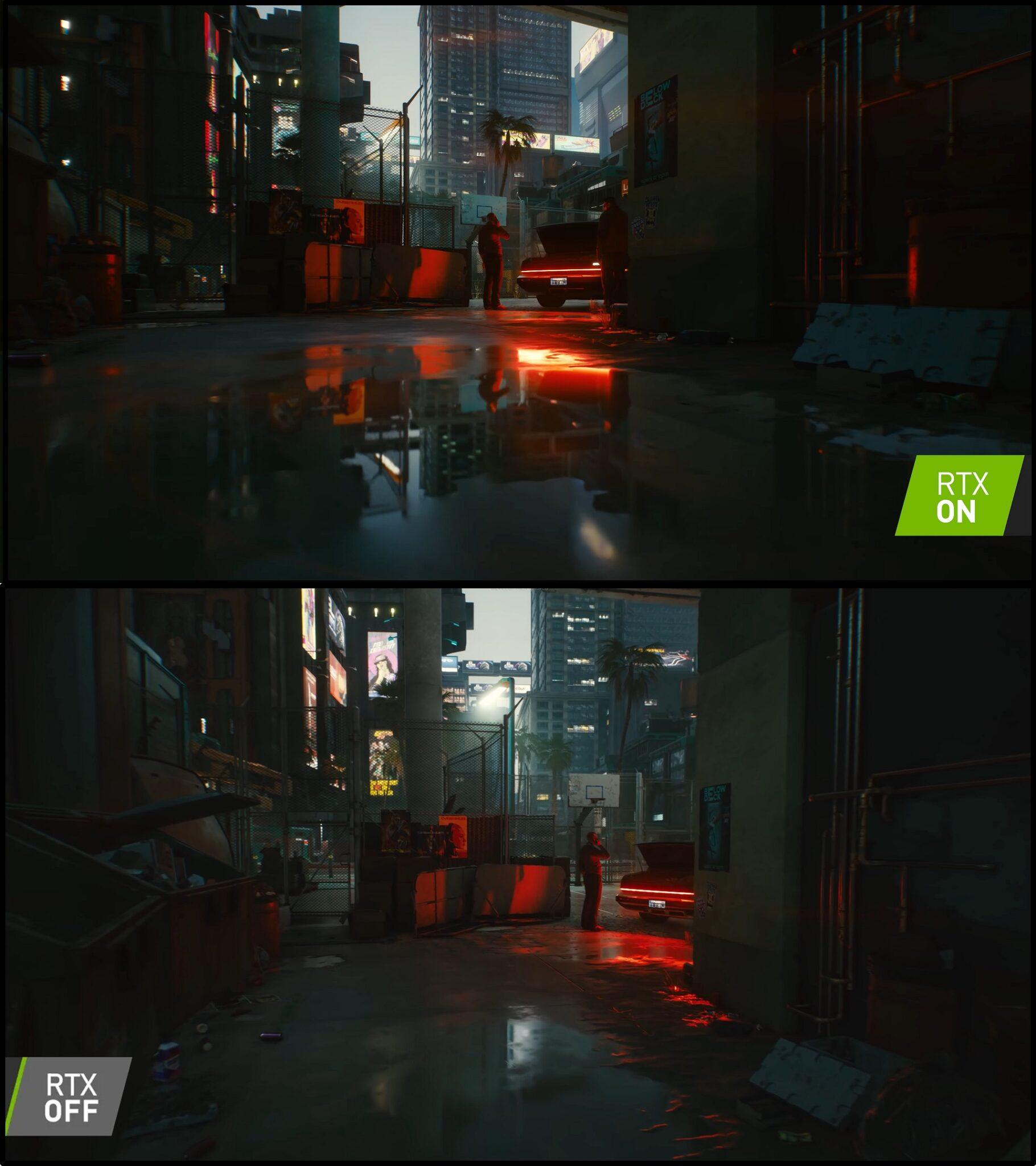 NVIDIA RTX on vs Off Cyberpunk 2077 1